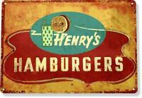 Henry's Hamburger Diner Restaurant Retro Rustic Metal Decor Tin Sign