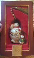 Lenox Snowman & Snowchild/ Trinket Holder Box Christmas Tree Ornament (Euc)