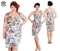 Hell Bunny Tiki Sarong Rockabilly Pinup Pencil Dress 2XL - 4XL Plus Size