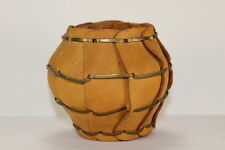Vintage Leather Pencil Holder Woven Hand Crafted Desk Office Item