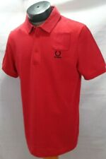 NWT Fred Perry Raf Simons men 42 solid red 100% cotton short sleeve polo shirt
