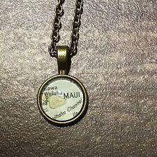 PUKALANI KEOKEA PAIA MAUI HAWAII USA Map necklace pendant Bronze ATLAS vntg