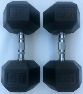 BRAND NEW 55LB PAIR OF RUBBER COATED HEX DUMBBELLS WEIGHTS FOR COMMERCIAL GYM