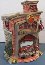 Fire Department Fireman Candle House & Dog Blue Sky Clayworks Heather Goldminc
