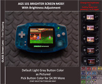 GBA Backlit Mod AGS101 LCD w/ 5 Level Brightness Switch - GITD Crystal Blue