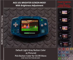 GameBoy Advance GBA Backlit Mod AGS101 LCD w/ 5 Level Brightness Switch-CrystalB