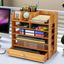 Desktop Multi-layer Drawer Storage Box Wooden File Shelf File Box Storage