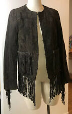 NWT Women's Blank NYC Suede Western Fringe Jacket Chocolate Brown  Size M