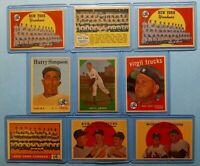 Vintage 1958 1959 1961 Old Topps Baseball Cards 9-card Lot *New York Yankees*