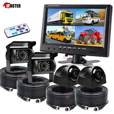 """9"""" Quad Monitor 4Pin Tech Kit 4x CCD Camera Side Rear View Camera For Truck Bus"""