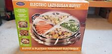 HomeCraft Electric 3-in-1 Stainless Steel Lazy Susan Buffet, 4 Station Server