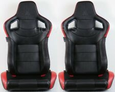 2 TANAKA BLACK & RED PVC LEATHER RACING SEAT DUAL RECLINER BACK POCKET FITS BMW