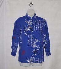 Yi Lin Chinese Calligraphy Design Shirt Size XS Blue
