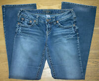 Silver Jeans Aiko Women's 28 x 33 Distressed Jeans Medium Wash Bootcut Whiskered