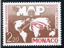 STAMP / TIMBRE DE MONACO N° 1704 ** AIDE ET PRESENCE / PLANISPHERE AVEC FLECHES