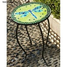 Metal Round Side Table Outdoor Glass Patio Bistro Display Mosaic Top Deck Indoor