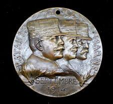 WW1 Battle of Marne Commemorative Bronze Medal / Jules-Prosper Legastelois 68mm