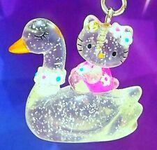 Hello Kitty Loves Glitter Swan Swarovski Elements Crystals Japan Charm Pendant