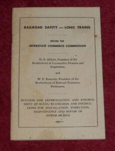 1955 Interstate Commerce Commission Railroad Safety Long Trains Brakes Petition