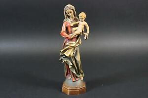 Maria mit Jesus Kind geschnitzte gefasste Holzfigur (CP261)