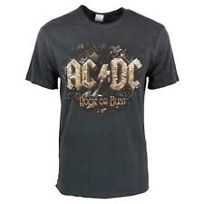 Mens Amplified ACDC Rock or Bust Logo T Shirt Charcoal NEW