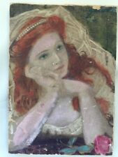 Antique Pre Raphaelite Original Watercolour Painting