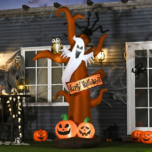 2.7m Halloween Inflatable Tree with Ghost and Pumpkin Lighted for Decoration