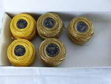 DMC boite 5 pelotes de 10 grammes COTON PERLE 8 N° 725 jaune ocre ,art 116