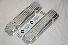 Pontiac 326 389 400 455 V8 Polished Aluminum Short Nostalgia Finned Valve Covers