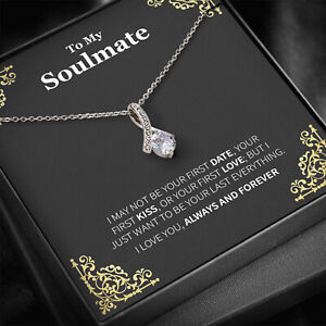To My Soulmate Necklace, Pendant Valentine Gift For Wife Girlfriend From Husband