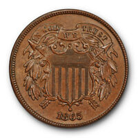 1865 Two Cent Piece Uncirculated Mint State Brown BN Plain 5 #7468
