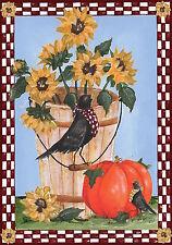 """Autumn Crows Primitive Garden Flag Sunflowers Pumpkins Floral 12.5"""" x 18"""""""