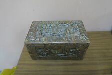 "Old Vintage Antique Carved Wood Pictorial Scene Chinese Box Chest 6"" x 10"" x 5"""