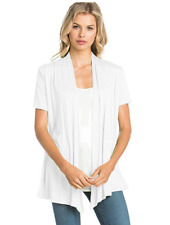 Women's Basic Solid Short Sleeve Cardigan Draped Open Front Wrap Shawl Top USA