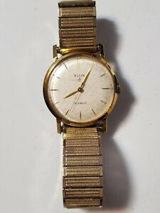 Vintage Elgin 19 Jewels Wind Up Swiss Made Men's Watch Collectible Rare
