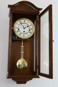 COMITTI CHIMING WALL CLOCK pendulum WESTMINSTER CHIMES mahogany finish LOVELY