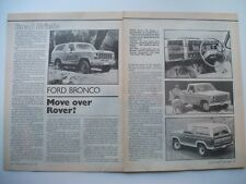 1981 FORD BRONCO XLT & F100 2 PAGE AUSTRALIAN MAGAZINE PREVIEW & DRIVE ARTICLE