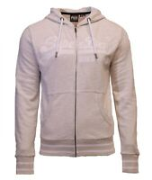 Superdry Mens New VL Emb Long Sleeved Full Zip Hoody Off White Cream