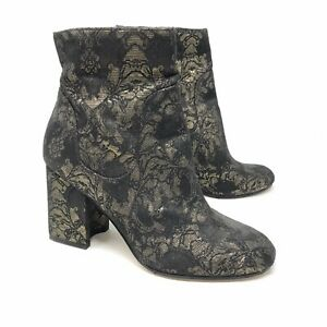 Marc Fisher Size 6 1/2 Jana Jacquard Ankle Booties Black Gold Round Toe Block
