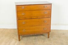 Vintage Retro Teak Mid Century Chest of Drawers Brass Handles