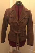 Rue 21 Women's Jacket Small Brown Suede Leather Belted