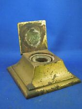 "Antique Brass Inkwell with Lid and Glass Vial - Size 5"" x 5"" x 1 3/4"""
