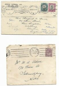 2 Covers  From South Africa to UK  - JHB, PE,  post marks