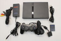 Sony PS2 SCPH-75000 Black Slim Console Cont AC AV Bundle Japan Import 2PC98