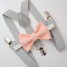 Kids Boys Mens Light Gray Suspenders & Peach Coral Bow tie Infant - ADULT SET