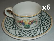 Villeroy & and Boch BASKET 6 x tea cups and saucers EXCELLENT teacups