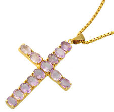 Amethyst Cross Pendant (TW 23 CT) Set in 14K Yellow Gold and Box Link Necklace