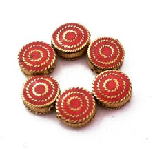 Round Coin Wholesale Lot Nepal Ub2683 Coral Brass 6 Beads Tibetan Ethnic Flat