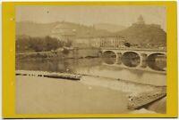 CDV Torino Ponte sul Po Foto originale all'albumina Turin 1860c S1460