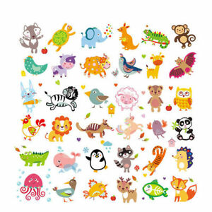 Cute Animals Kids Clothes Patches Iron On Heat Transfers Washable Stickers Decor